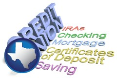 tx map icon and credit union services